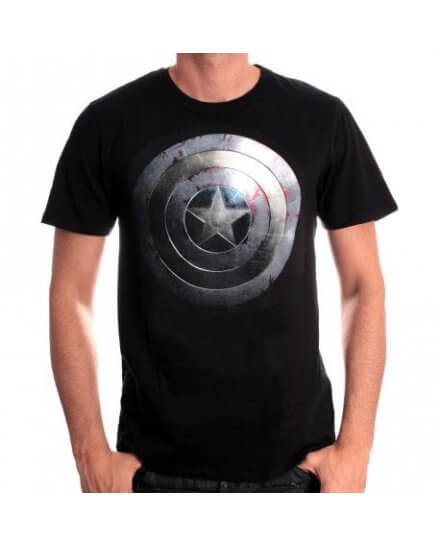 Tee-Shirt Noir Silver Shield Captain America