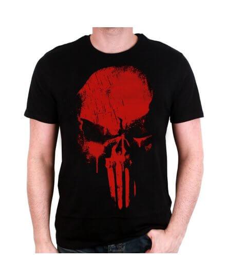 Tee-Shirt Noir Skull Rouge Punisher
