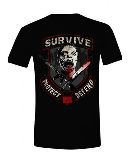 Tee-Shirt Noir Survive Protect Defend The Walking Dead