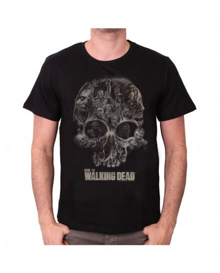 Tee-Shirt Noir Walker Skull The Walking Dead