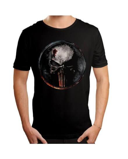 Tee-Shirt Punisher Noir Skull Blood
