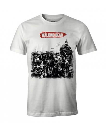 Tee-Shirt Walking Dead blanc horde zombies