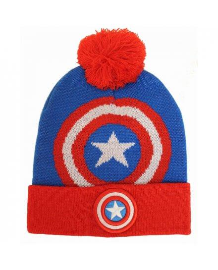 Bonnet Bleu et Rouge Pompom Logo Captain America
