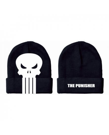 Bonnet Noir Logo Blanc Punisher