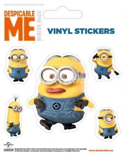 Pack de 5 Stickers Minion Dave et ses Amis Moi Moche et Mechant