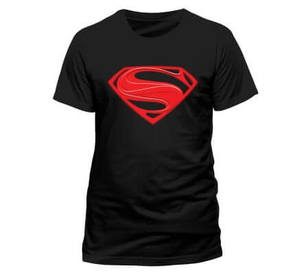 Tee-Shirt Noir Logo Man of Steel Rouge Vif Superman