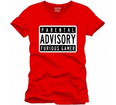 Tee-Shirt Rouge Parental Advisory Furious Gamer Geek