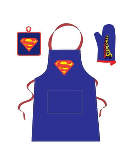 Tablier + Manique + Gant Bleu Logo Comics Superman